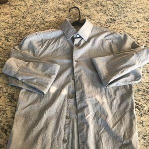 🔥 Express 1MX Fitted Button Up Dress Shirt.